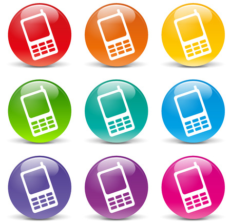 illustration of cellphone set icons on white background Vector