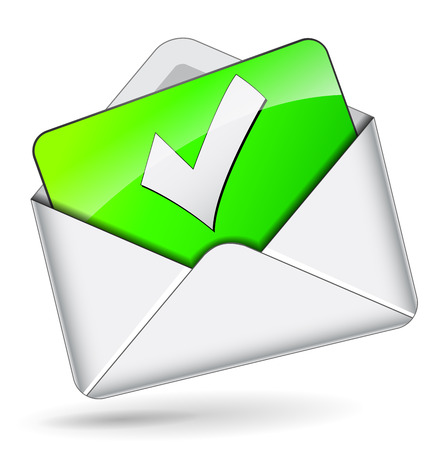 illustratie van controle mail envelop op witte achtergrond