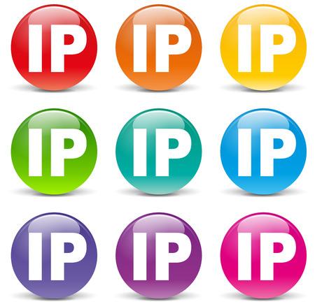 ip address:  illustration of ip address icons on white background