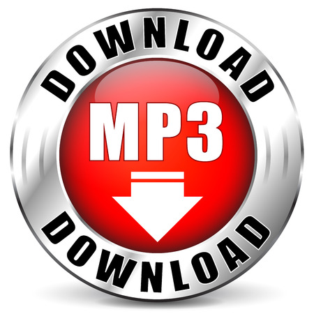 live stream listening:  illustration of mp3 download red icon