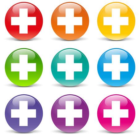 addition: illustration of plus set icons on white background