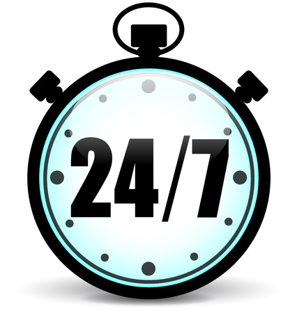 24x7:  illustration of stopwatch service icon on white background