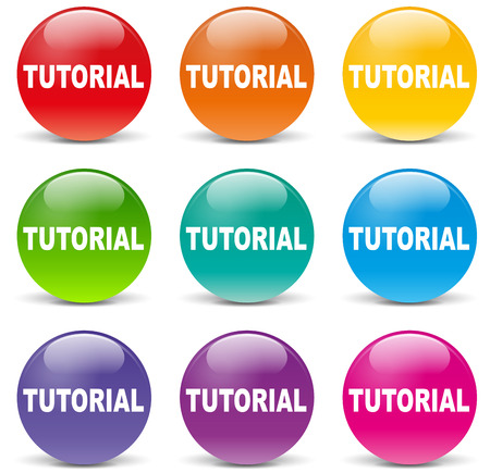 illustration of tutorial set icons on white background Vector