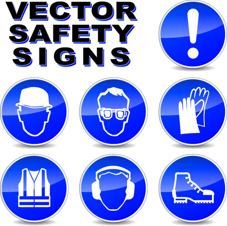 ears: illustration of safety signs on white background Illustration