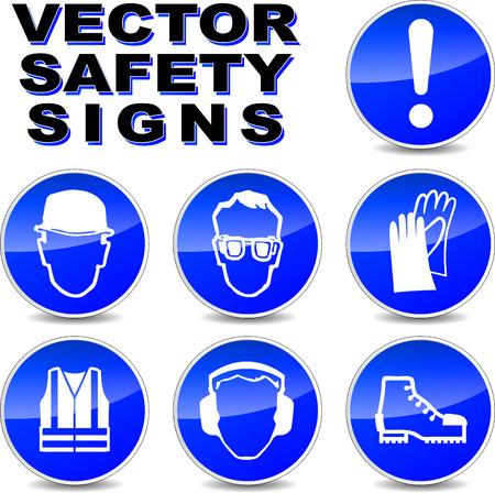 zapatos de seguridad: ilustración de las señales de seguridad en el fondo blanco Vectores