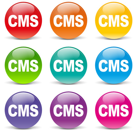 cms: Vector illustration of colorful cms icons on white background
