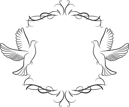 christian marriage: Vector illustration of dove and frame background Illustration