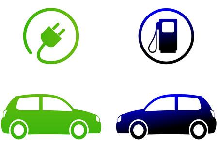 Vector illustratie van elektrische auto concept op een witte achtergrond Stock Illustratie
