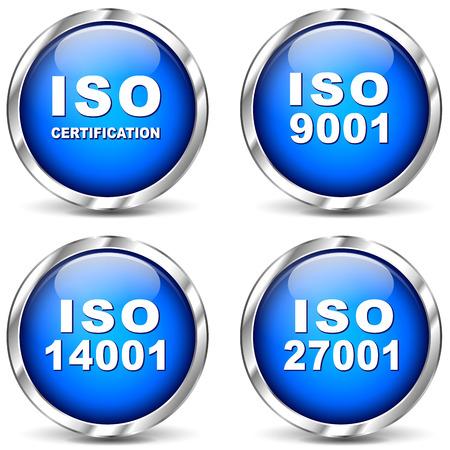 zertifizierung: Vektor-Illustration der ISO-Zertifizierung Symbole auf wei�em Hintergrund