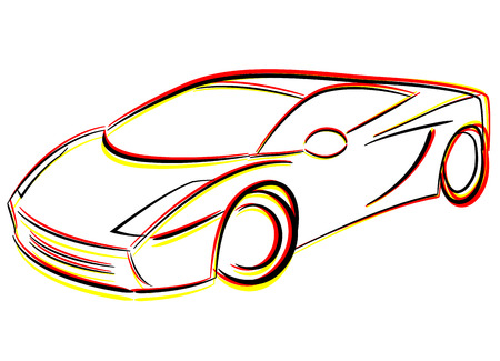Vector illustration of drawing race car concept