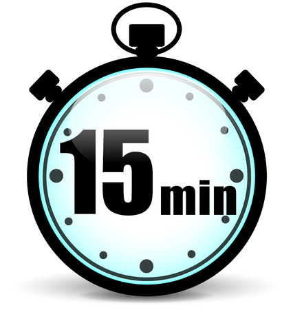 Vector illustration of fifteen minutes stopwatch on white background Illustration