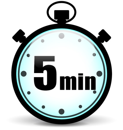 Vector illustration of five minutes stopwatch on white background