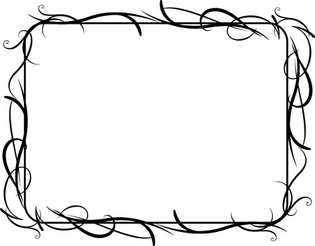 Vector illustration of horizontal vines frame concept Vector