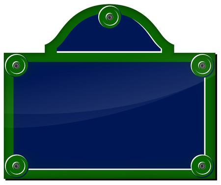 green sign: Illustrazione vettoriale di piastra parigino su sfondo bianco