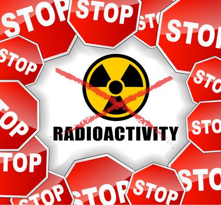 radiactividad: Ilustraci�n vectorial de la parada del concepto del fondo de radiactividad