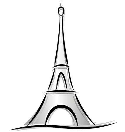 흰색 배경에 에펠 타워의 벡터 드로잉