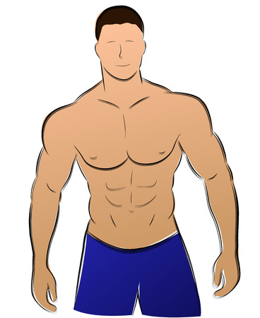 illustration of muscle man drawing on white background Vector