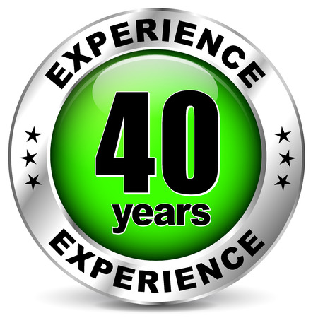 illustration of forty years experience icon on white background Çizim