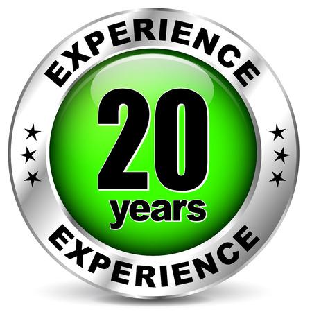 illustration of twenty years experience icon on white background Ilustração Vetorial