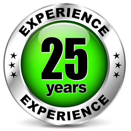 illustration of twenty five years experience icon on white background Vector