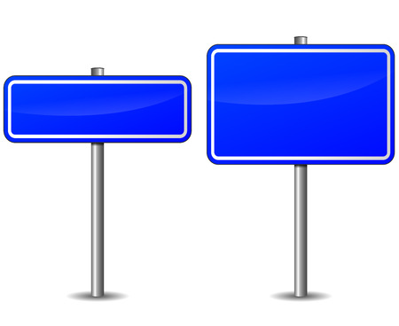 Vector illustration of blank blue road signs on white background
