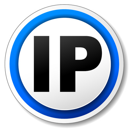 Vector illustration of black and blue ip icon