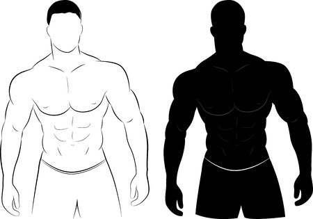 Vector illustration of muscle man silhouette concept Vector