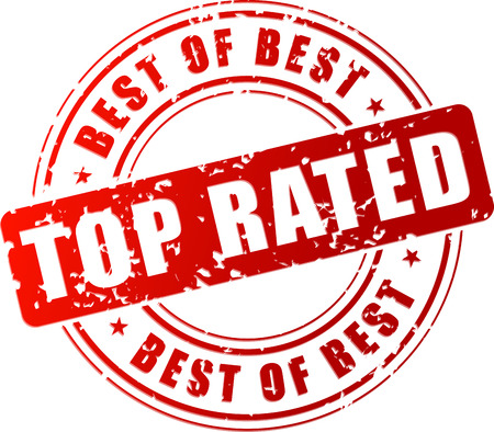 rated: Vector illustration of top rated red stamp