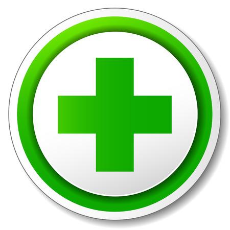 Vector illustration of pharmacy cross icon on white background