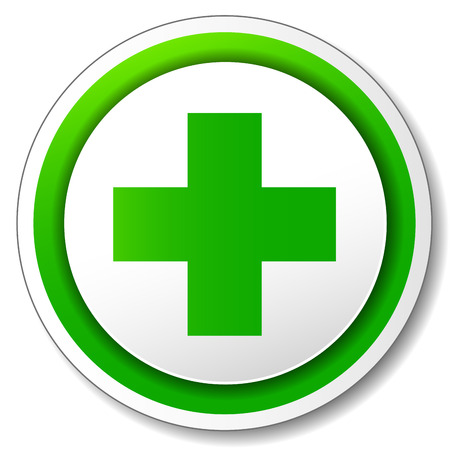 Vector illustration of pharmacy cross icon on white background