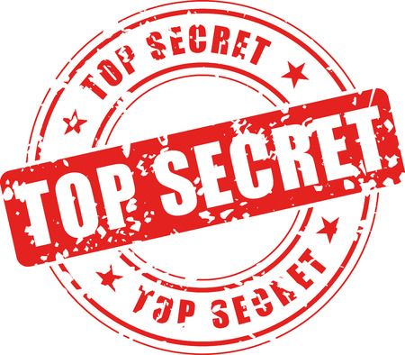 Vector illustration of top secret stamp on white background