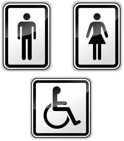 Vector illustration of gender and disabled signs on white background