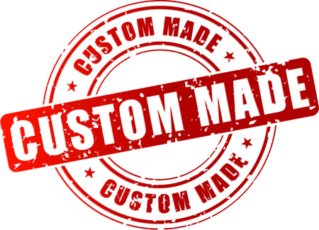 customized: Vector illustration of red custom made stamp on white background