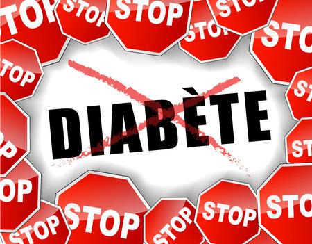 sugar metabolism: Vector illustration of stop diabetes background concept
