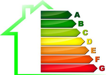 eficiencia energetica: Ilustraci�n vectorial de s�mbolo de la eficiencia energ�tica en el fondo blanco Vectores