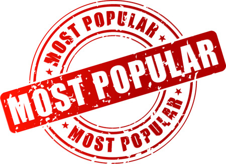 most popular: Vector illustration of most popular red stamp on white background
