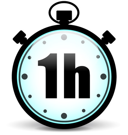 Vector illustration of one hour stopwatch icon Çizim