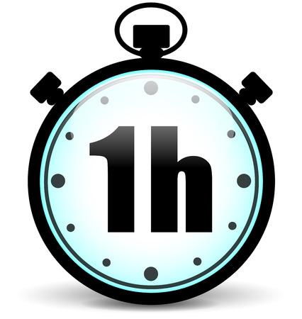 jeden: Vektorové ilustrace jedna hodina ikonu stopek
