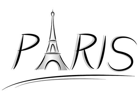 Vector illustration of paris eiffel tower sign