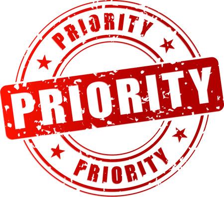 prioridades: Ilustraci�n vectorial de sello prioritario rojo sobre fondo blanco