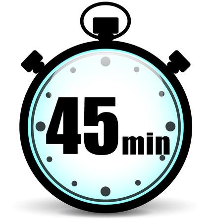 Vector illustratie van drie kwartier stopwatch icoon