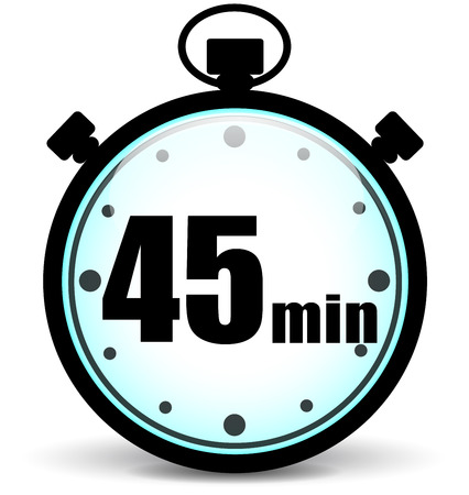 Vector illustration of forty five minutes stopwatch icon