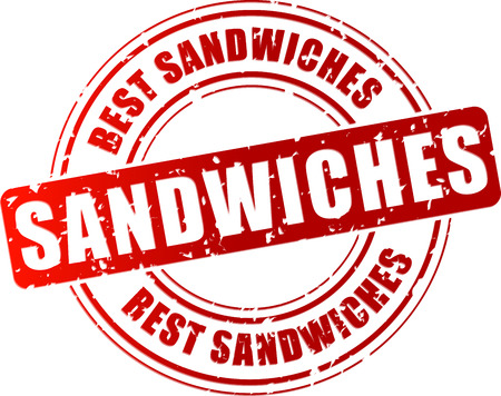 deli meat: Vector illustration of best sandwiches stamp on white background