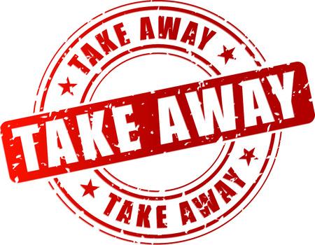 Vector illustration of take away stamp on white background