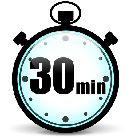 Vector illustration of thirty minutes stopwatch icon