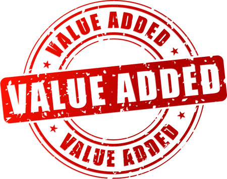 value: Illustrazione vettoriale di valore aggiunto timbro rosso su sfondo bianco