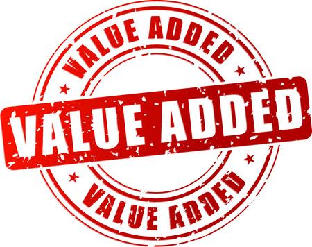 valor: Ilustraci�n vectorial de sello de valor a�adido roja sobre fondo blanco