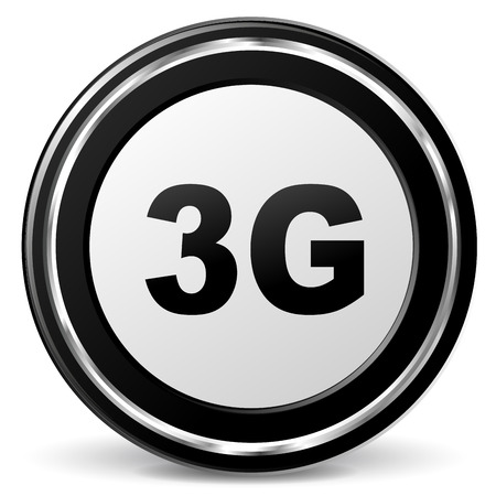 alu: illustration of black and chrome 3g icon Illustration