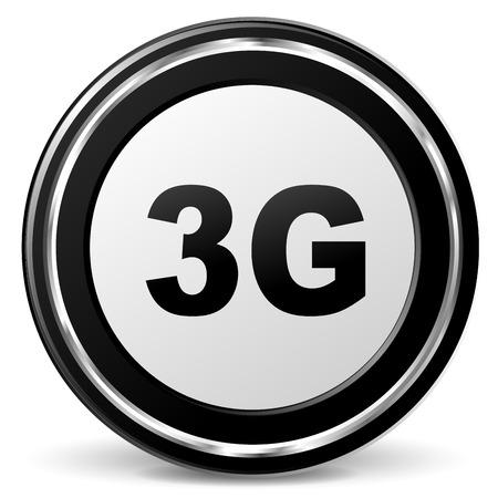 3g: ilustraci�n del icono negro y cromo 3g Vectores