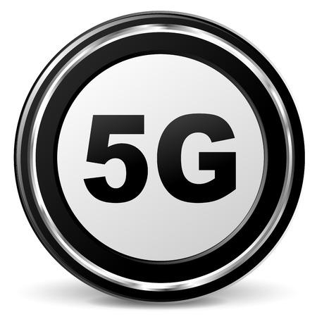 illustration of black and chrome 5g icon Illustration